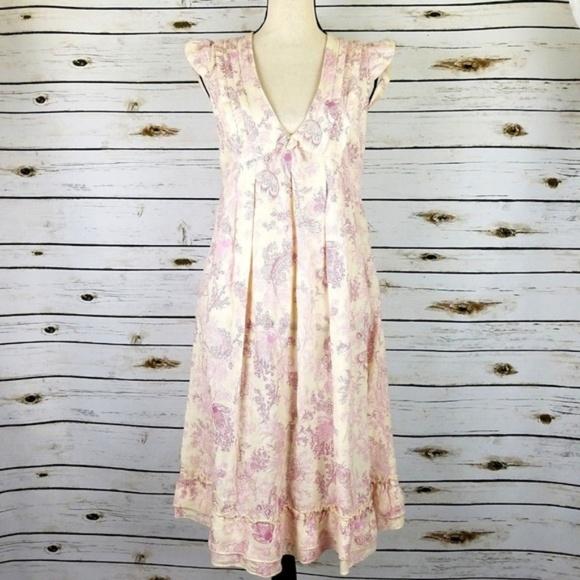 00b465209c 120% Lino Dresses   Skirts - 120% Lino Dress 6 Pink Purple Ivory Floral